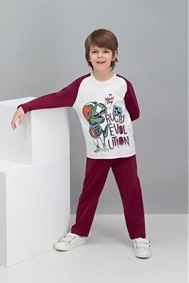 Roly Poly  Rugby Dinosaur Kum Beji Erkek Çocuk Pijama Takımı Krem